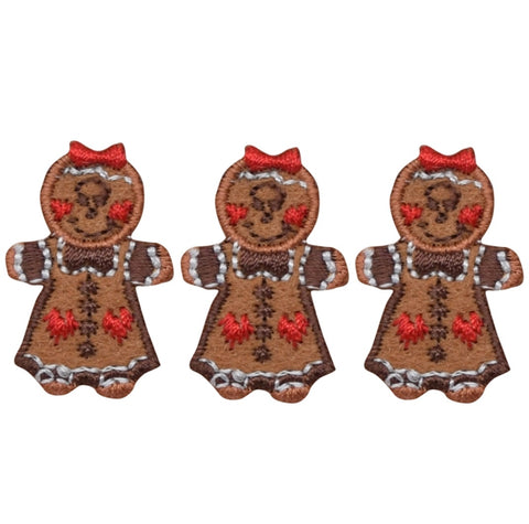 "Mini Gingerbread Girl Applique Patch - Christmas Cookie 1.25"" (3-Pack, Iron on)"
