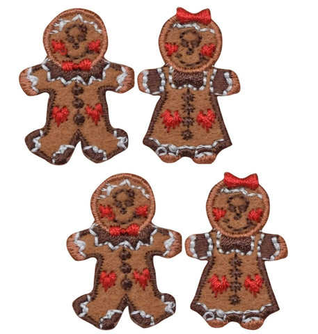 "Mini Gingerbread Applique Patch - Christmas Cookie 1.25"" (4-Pack, Iron on)"