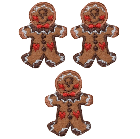 "Mini Gingerbread Man Applique Patch - Christmas Cookie 1.25"" (3-Pack, Iron on)"
