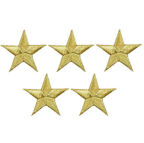"Star Applique Patch - Gold 1.5"" (5-Pack, Iron on)"