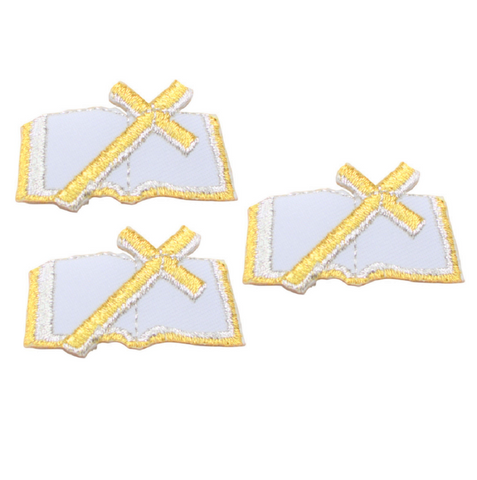 Cross and Bible Applique Patch - Christian, Catholic, White and Gold (3-Pack, Iron on)