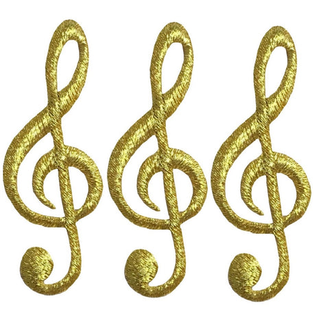 "G Clef Applique Patch - Gold Musical Note, Sheet Music 2.25"" (3-Pack, Iron on)"