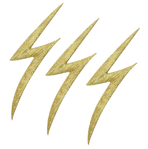 "Lightning Bolt Applique Patch - Gold, Electricity 2-1/8"" (3-Pack, Iron on)"