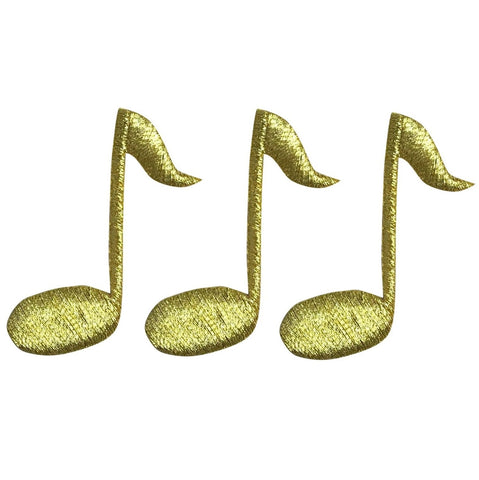 "Gold Quarter Note Applique Patch - Musician, Music 1-5/8"" (3-Pack, Iron on)"
