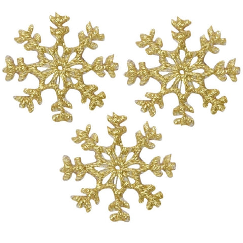 "Snowflake Applique Patch - Snow, Metallic Gold, Winter 1"" (3-Pack, Iron on)"