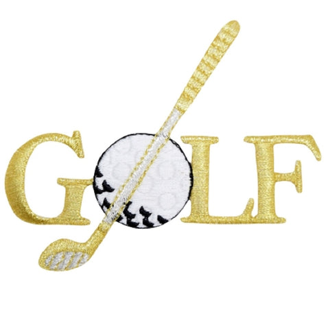 "Golf Applique Patch - Metallic Gold and Silver, Links Badge 3.5"" (Iron on)"