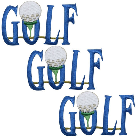 "Golf Applique Patch - Links, Golfing Badge 2"" (3-Pack, Iron on)"