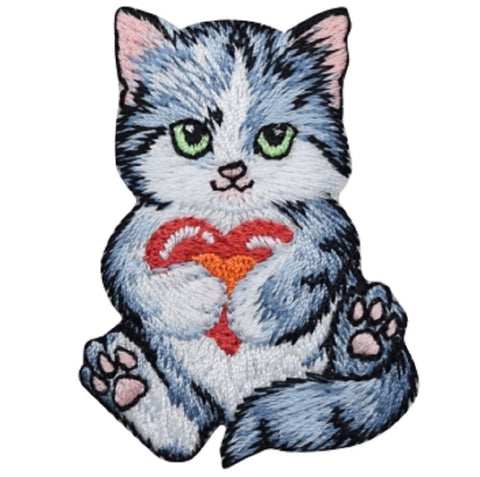 "Kitty Cat Applique Patch -  Kitten, Heart, Love Badge 2-3/8"" (Iron on)"