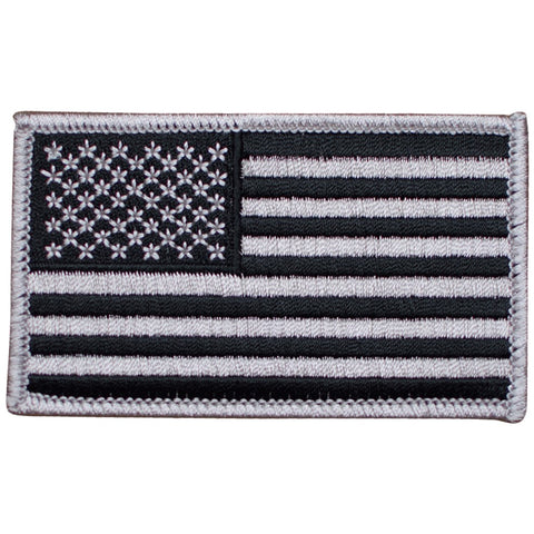 "American Flag Patch - Gray/Black, United States, USA 3-3/8"" (Iron on)"