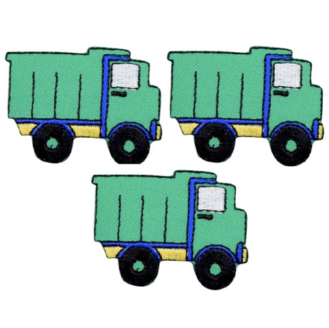 "Dump Truck Applique Patch - Hauling, Construction Vehicle 2"" (3-Pack, Iron on)"