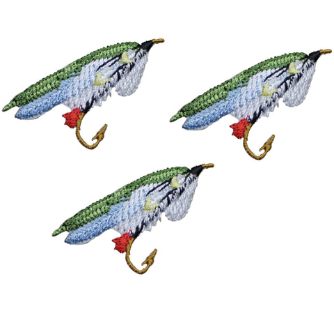 Fly Fishing Applique Patch - Green, Blue, White (3-Pack, Small, Iron on)