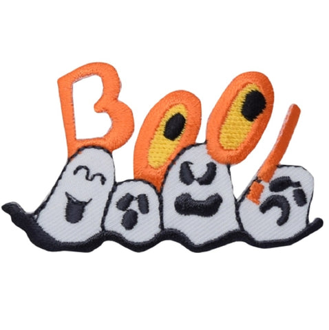 "Ghost Applique Patch - Boo! Halloween, Spirit, Scary, Spooky 2-7/8"" (Iron on)"