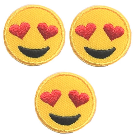 "Heart Eyes Applique Patch - Heart Eyes, Smiling 1"" (3-Pack, Iron on)"