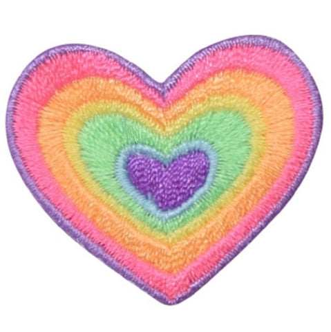 "Heart Applique Patch - Rainbow, Love Badge 1.5"" (Iron on)"