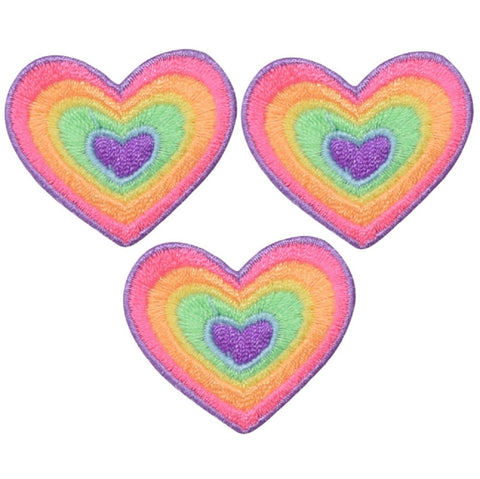 "Heart Applique Patch - Rainbow, Love Badge 1.5"" (3-Pack, Iron on)"