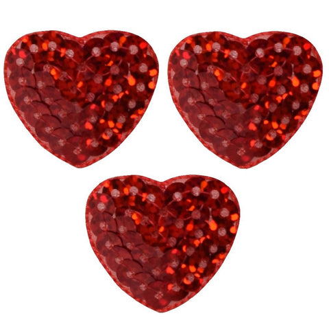 Red Sequin Heart Applique Patch (3-Pack, Small, Iron on)