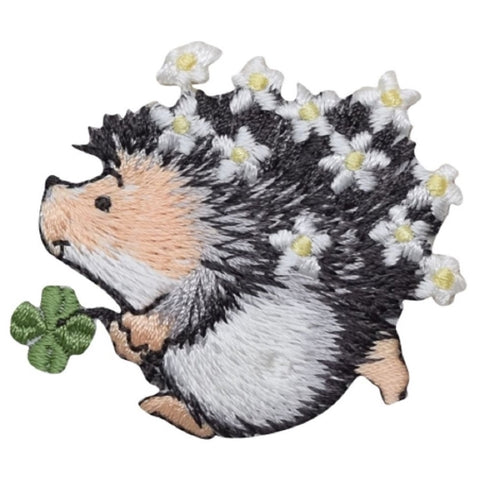 "Hedgehog Applique Patch - Flowers, Clover, Shamrock Badge 2.25"" (Iron on)"