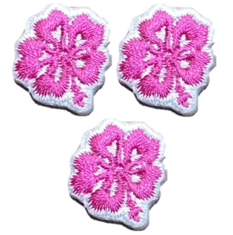 "Mini Hibiscus Applique Patch - Pink Tropical Flower Badge 5/8"" (3-Pack, Iron on)"