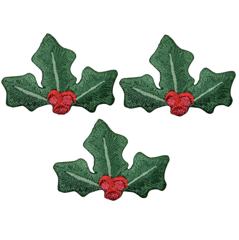 "Christmas Holly Applique Patch - Red Berries 1.75"" (3-Pack, Iron on)"