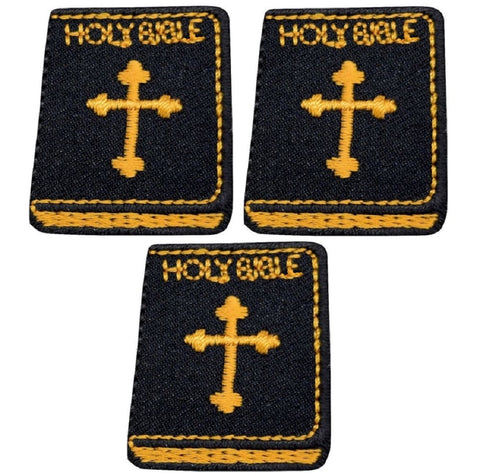 "Mini Holy Bible Applique Patch - Cross, Black and Gold 1-3/8"" (3-Pack, Iron on)"