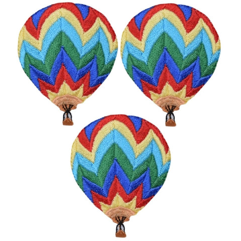 "Hot Air Balloon Applique Patch - Chevron Stripes 2"" (3-Pack, Iron On)"