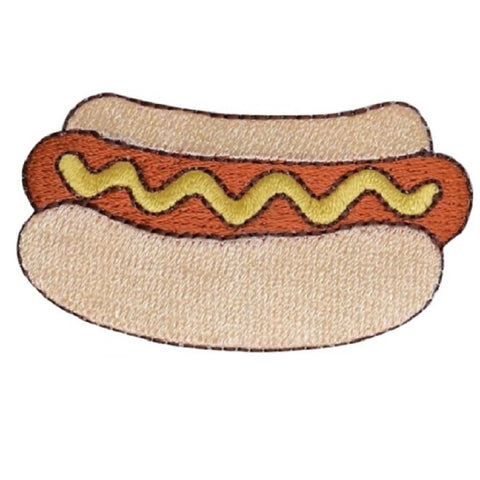 "Hot Dog Applique Patch - Mustard, Wiener, Bun, Food Badge 2.5"" (Iron on)"
