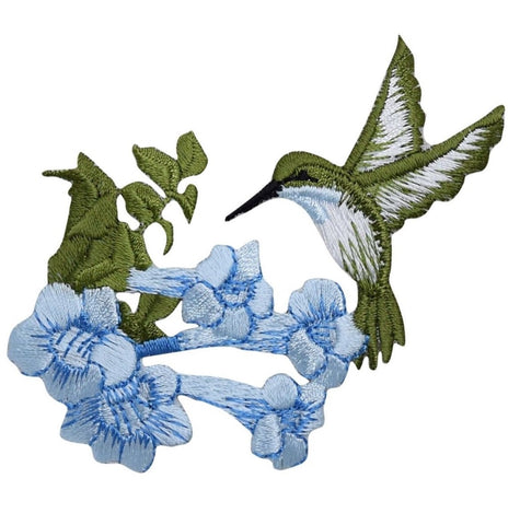 Hummingbird with Blue Flowers Applique Patch (Iron on)