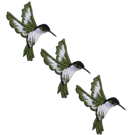 "Hummingbird Applique Patch - Violet, Green, Bird Badge 1-3/4"" (3-Pack, Iron on)"