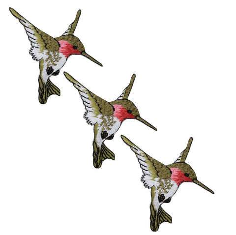 Hummingbird Applique Patch - Facing Right, Pink, Green (3-Pack, Small, Iron on)