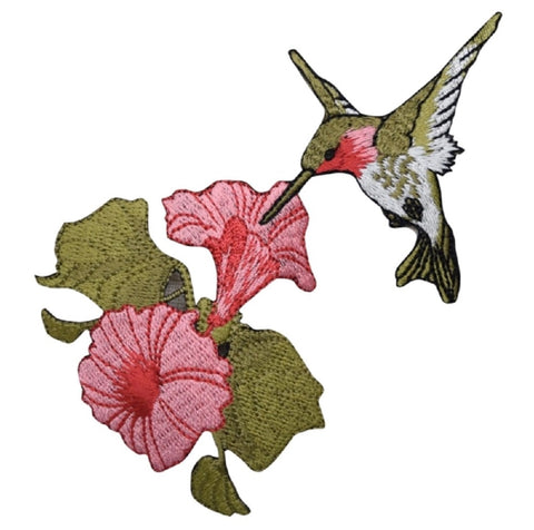 "Hummingbird Applique Patch - Tropical Pink Flowers, Bird Badge 4.5"" (Iron on)"
