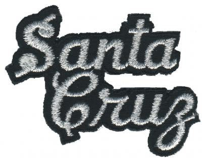 Santa Cruz Script Patch - Silver and Black (Iron On)