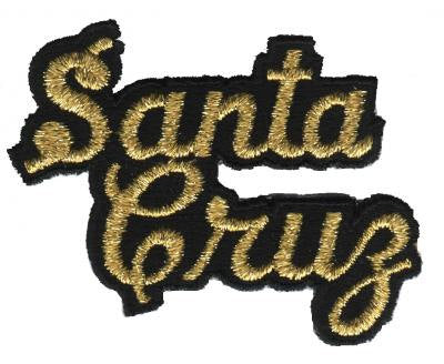 Santa Cruz Script Patch - Gold and Black (Iron On)