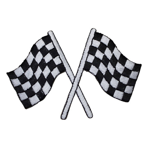 "Checkered Flags Applique Patch - Race Track, Racing Badge 3-1/8"" (Iron on)"