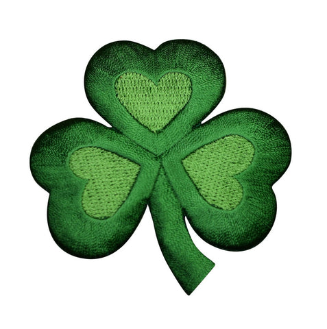 "Shamrock Applique Patch - Heart, Clover, Good Luck Badge 2"" (Iron on)"