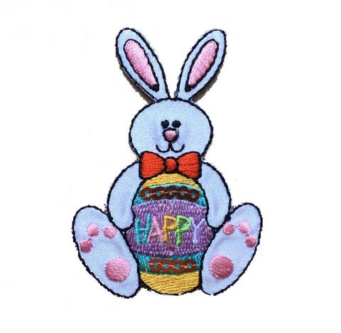 "Easter Bunny Applique Patch - Rabbit, Decorated Egg 2-3/8"" (Iron on)"