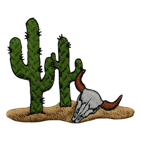 Cactus and Bull Skull Western Style Applique Patch  (Iron On)