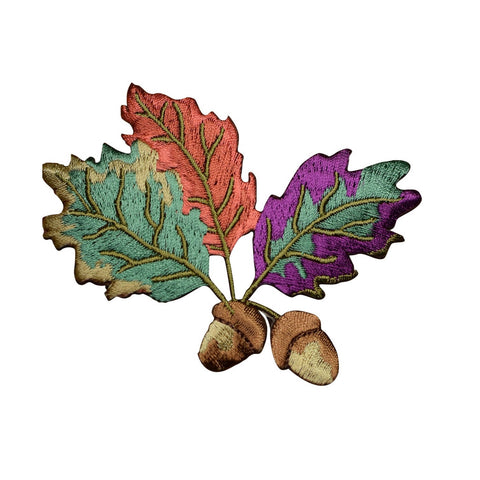 Acorn and Colorful Autumn Leaves Applique Patch (Iron On)
