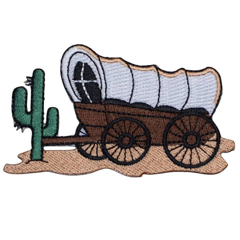 "Wagon Applique Patch - Prairie Schooner, Cactus, Western Badge 3.5"" (Iron on)"