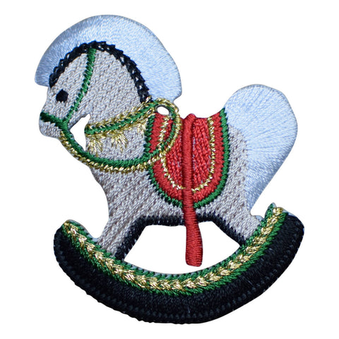 "Christmas Rocking Horse Applique Patch 2-3/8"" (Iron on)"