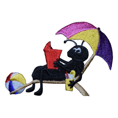 Bug in the Sun with Beachball and Umbrella Applique Patch (Iron on)