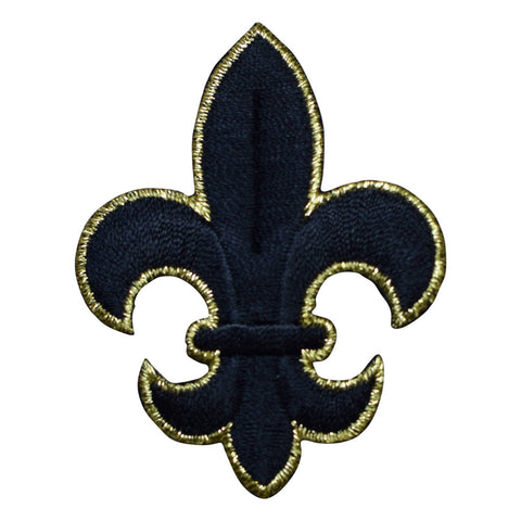 Large Black and Gold Fleur De Lis Cross Applique Patch (Iron on)