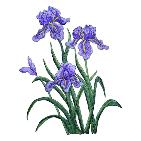 "Iris Flowers Applique Patch - Large Purple Bloom Badge 6"" (Iron on)"
