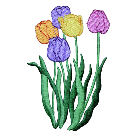 Large Tulips Flowers Applique Patch (Iron on)