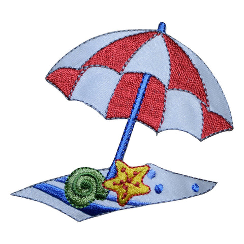 Beach Umbrella with Towel and Seashells Applique Patch (Iron on)