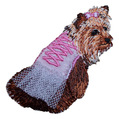 Yorkie Dog with Pink Tutu Applique Patch (Iron on)