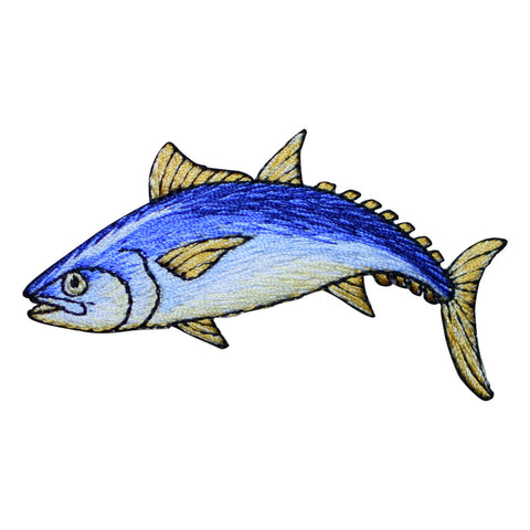 "Tuna Fish Applique Patch - Ahi, Albacore, Blue Fin 3.25"" (Iron on)"