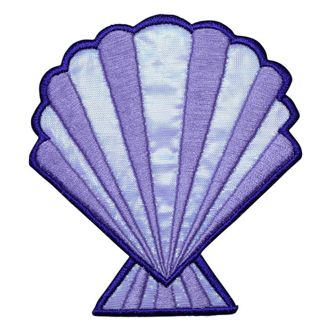 "Large Seashell Applique Patch -  Purple Shimmery Sea Shell 4"" (Iron on)"