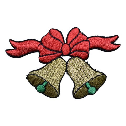 Christmas Gold Bells with Red Bow Applique Patch (Iron on)