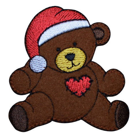 Christmas Teddy Bear with Santa Hat Applique Patch (Iron on)