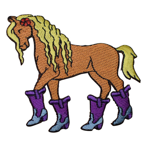 Horse with Purple Cowgirl Boots Applique Patch (Iron on)